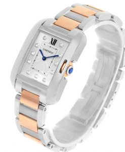 Cartier Tank Anglaise Medium Steel Rose Gold Diamond Watch WT100032 159756 b 247x300 - TANK ANGLAISE WATCH WT100032